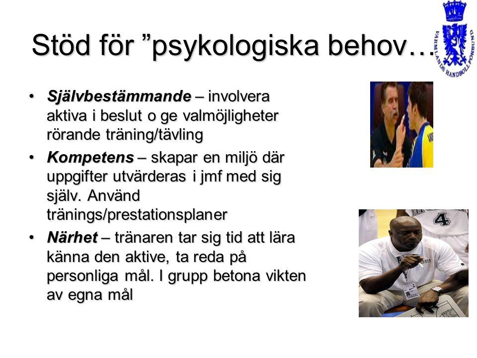 """Stöd för """"psykologiska behov…"""" Självbestämmande – involvera aktiva i beslut o ge valmöjligheter rörande träning/tävlingSjälvbestämmande – involvera ak"""