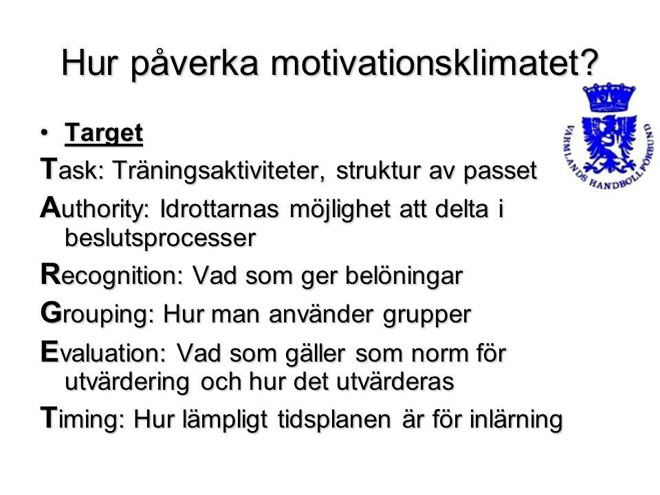 Hur påverka motivationsklimatet? TargetTarget T ask: Träningsaktiviteter, struktur av passet A uthority: Idrottarnas möjlighet att delta i beslutsproc
