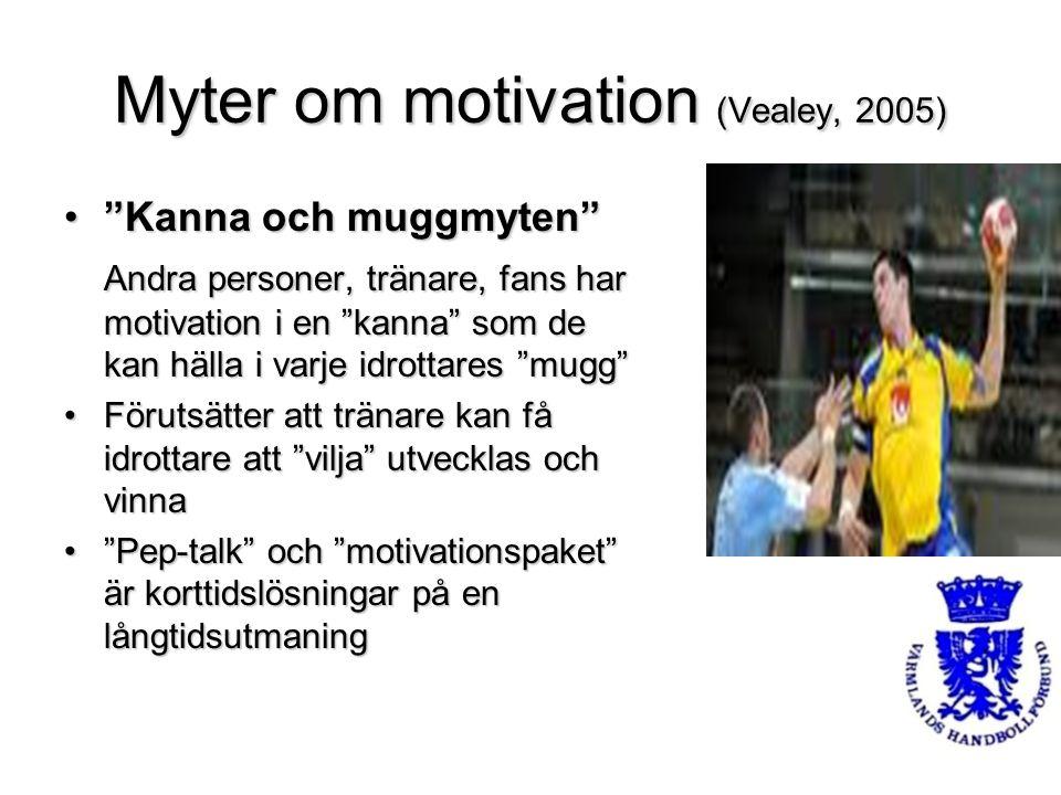 """Myter om motivation (Vealey, 2005) """"Kanna och muggmyten""""""""Kanna och muggmyten"""" Andra personer, tränare, fans har motivation i en """"kanna"""" som de kan häl"""
