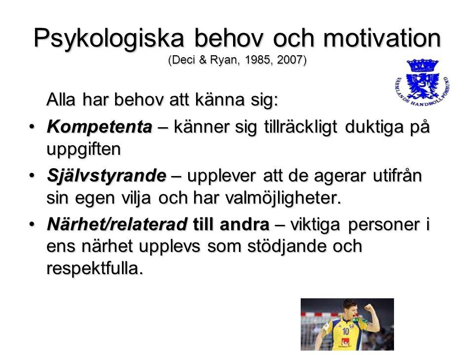 Psykologiska behov och motivation (Deci & Ryan, 1985, 2007) Alla har behov att känna sig: Kompetenta – känner sig tillräckligt duktiga på uppgiftenKom