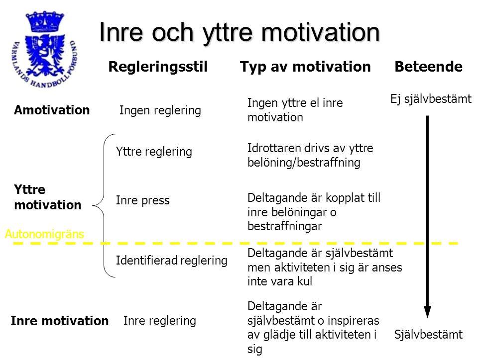 Inre och yttre motivation RegleringsstilTyp av motivationBeteende Amotivation Yttre reglering Inre press Identifierad reglering Inre reglering Inre mo