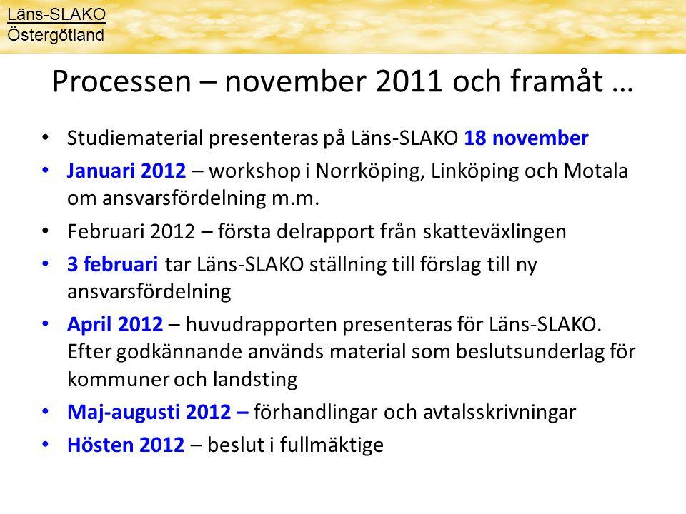 Processen – november 2011 och framåt … Studiematerial presenteras på Läns-SLAKO 18 november Januari 2012 – workshop i Norrköping, Linköping och Motala om ansvarsfördelning m.m.