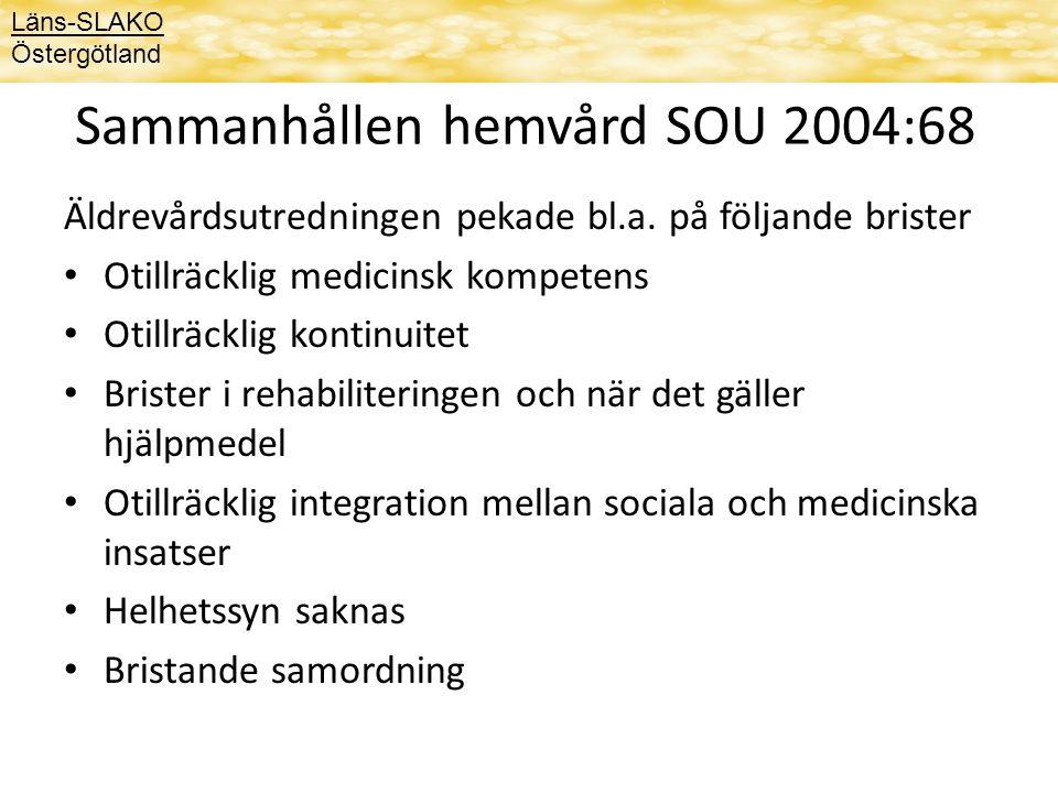 Läns-SLAKO Östergötland Sammanhållen hemvård SOU 2004:68 Äldrevårdsutredningen pekade bl.a. på följande brister Otillräcklig medicinsk kompetens Otill