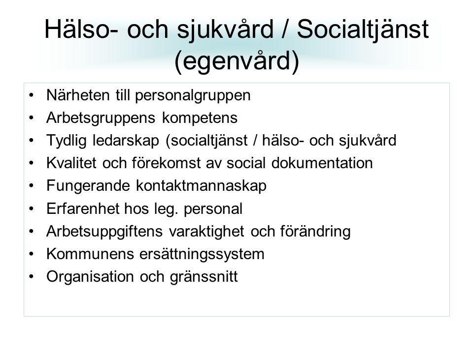 Hälso- och sjukvård / Socialtjänst (egenvård) Närheten till personalgruppen Arbetsgruppens kompetens Tydlig ledarskap (socialtjänst / hälso- och sjukv
