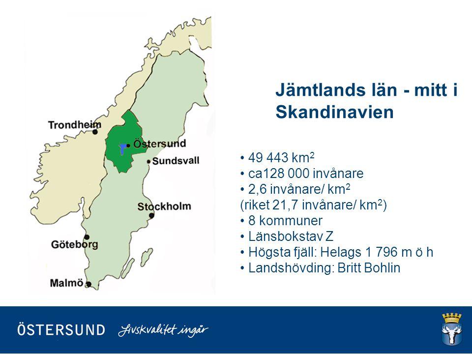 49 443 km 2 ca128 000 invånare 2,6 invånare/ km 2 (riket 21,7 invånare/ km 2 ) 8 kommuner Länsbokstav Z Högsta fjäll: Helags 1 796 m ö h Landshövding: