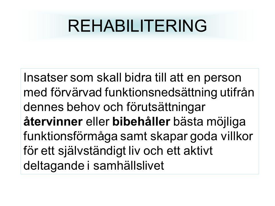 REHABILITERING Insatser som skall bidra till att en person med förvärvad funktionsnedsättning utifrån dennes behov och förutsättningar återvinner elle
