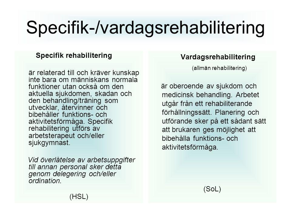 Specifik-/vardagsrehabilitering Specifik rehabilitering är relaterad till och kräver kunskap inte bara om människans normala funktioner utan också om