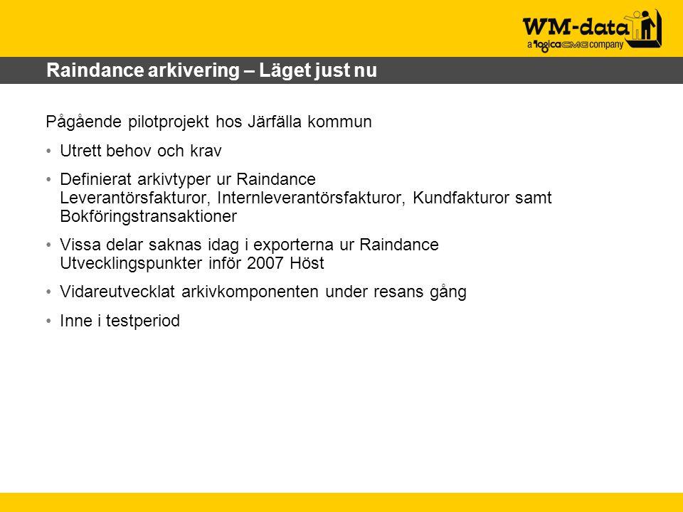 Raindance arkivering – Läget just nu Pågående pilotprojekt hos Järfälla kommun Utrett behov och krav Definierat arkivtyper ur Raindance Leverantörsfak