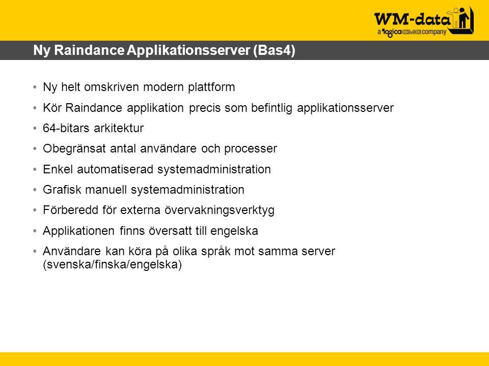 Ny Raindance Applikationsserver (Bas4) Ny helt omskriven modern plattform Kör Raindance applikation precis som befintlig applikationsserver 64-bitars