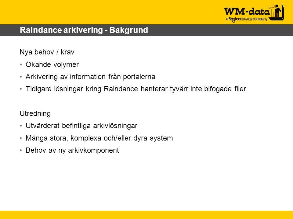 Raindance arkivering - Bakgrund Nya behov / krav Ökande volymer Arkivering av information från portalerna Tidigare lösningar kring Raindance hanterar