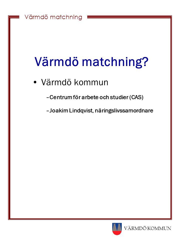 VÄRMDÖ KOMMUN Värmdö matchning Värmdö matchning? Värmdö kommun –Centrum för arbete och studier (CAS) –Joakim Lindqvist, näringslivssamordnare