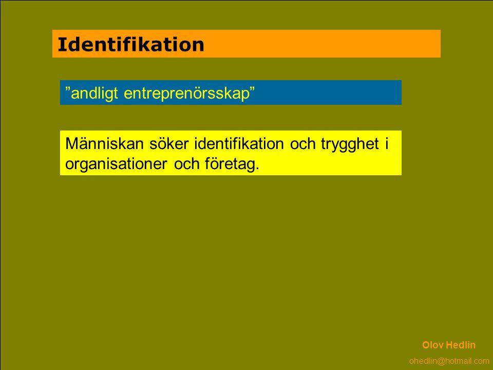 """Identifikation """"andligt entreprenörsskap"""" Människan söker identifikation och trygghet i organisationer och företag. Olov Hedlin ohedlin@hotmail.com"""