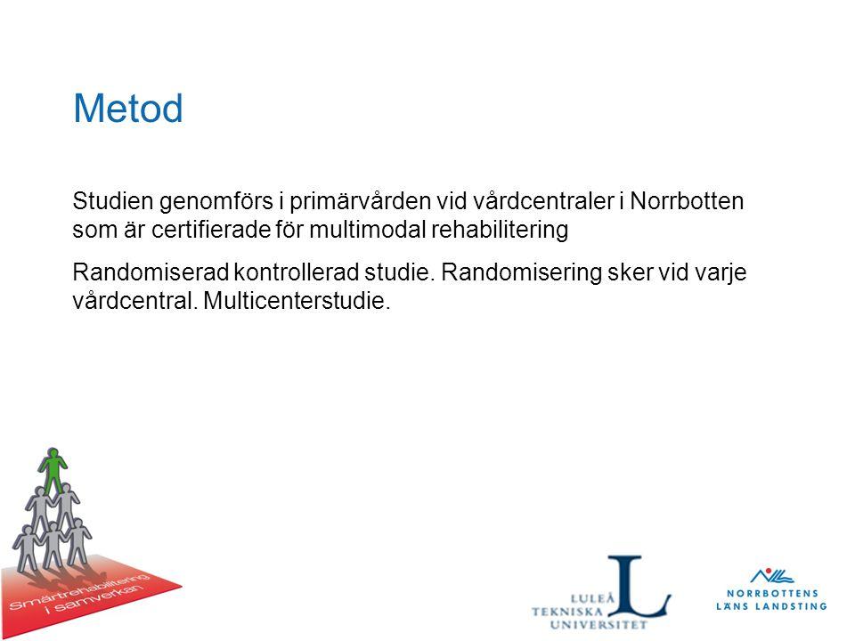 Metod Studien genomförs i primärvården vid vårdcentraler i Norrbotten som är certifierade för multimodal rehabilitering Randomiserad kontrollerad studie.