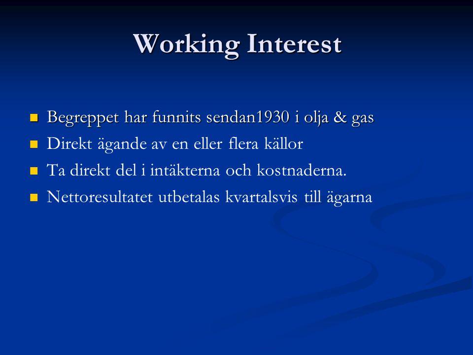 Working Interest Begreppet har funnits sendan1930 i olja & gas Begreppet har funnits sendan1930 i olja & gas Direkt ägande av en eller flera källor Ta