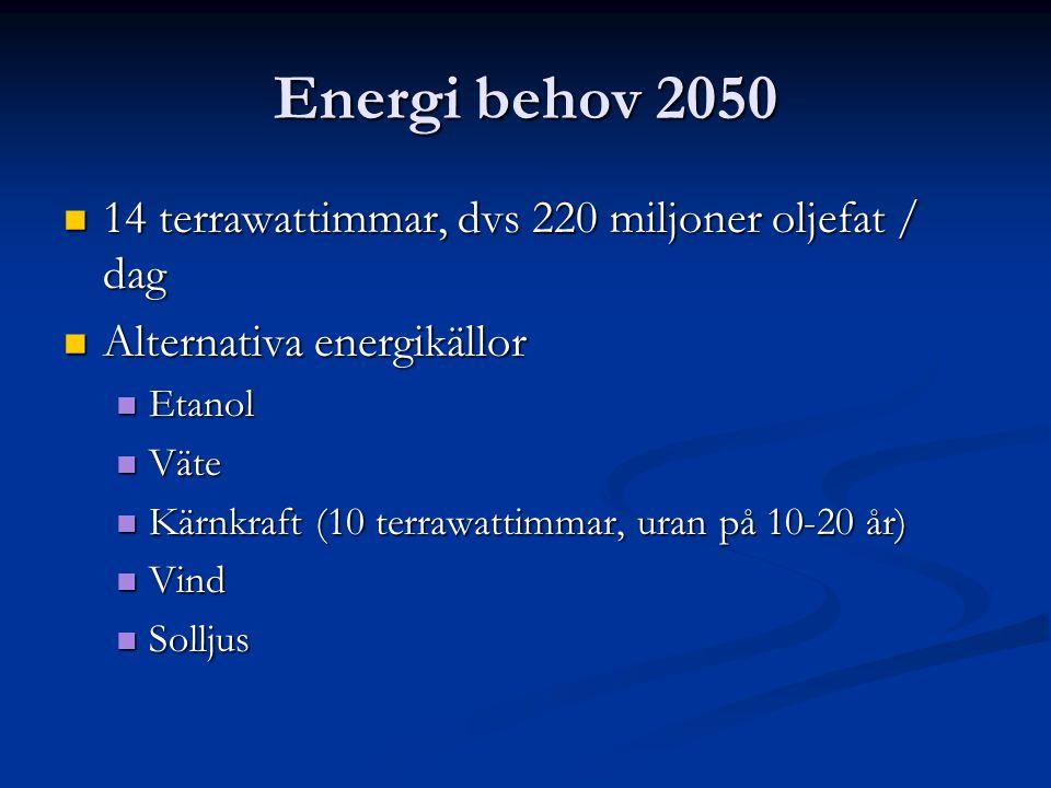 Energi behov 2050 14 terrawattimmar, dvs 220 miljoner oljefat / dag 14 terrawattimmar, dvs 220 miljoner oljefat / dag Alternativa energikällor Alterna