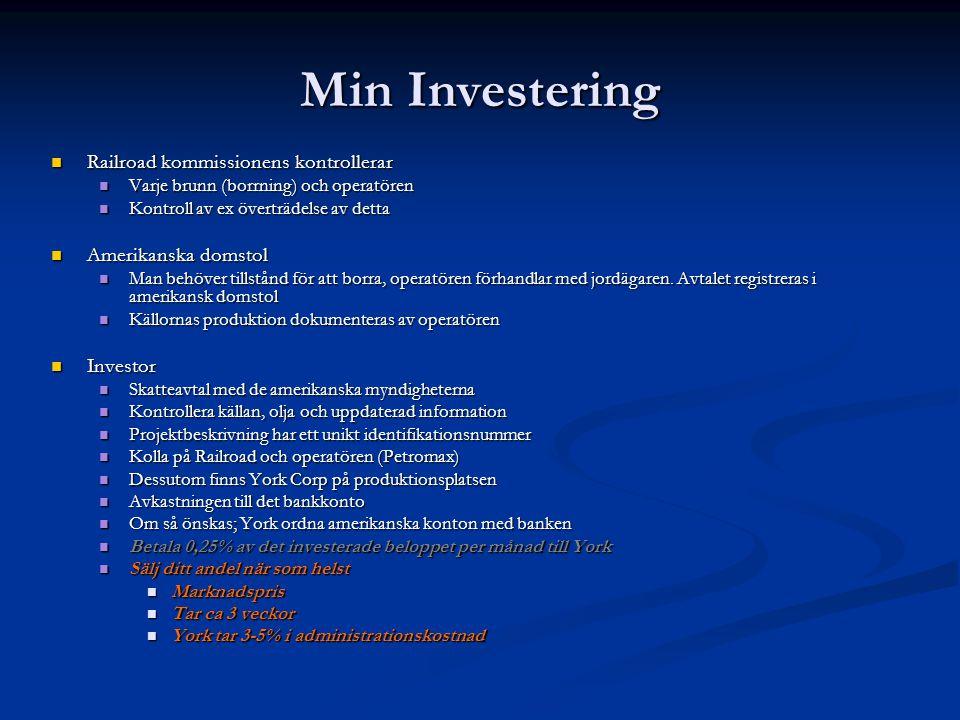 Min Investering Railroad kommissionens kontrollerar Railroad kommissionens kontrollerar Varje brunn (borrning) och operatören Varje brunn (borrning) o
