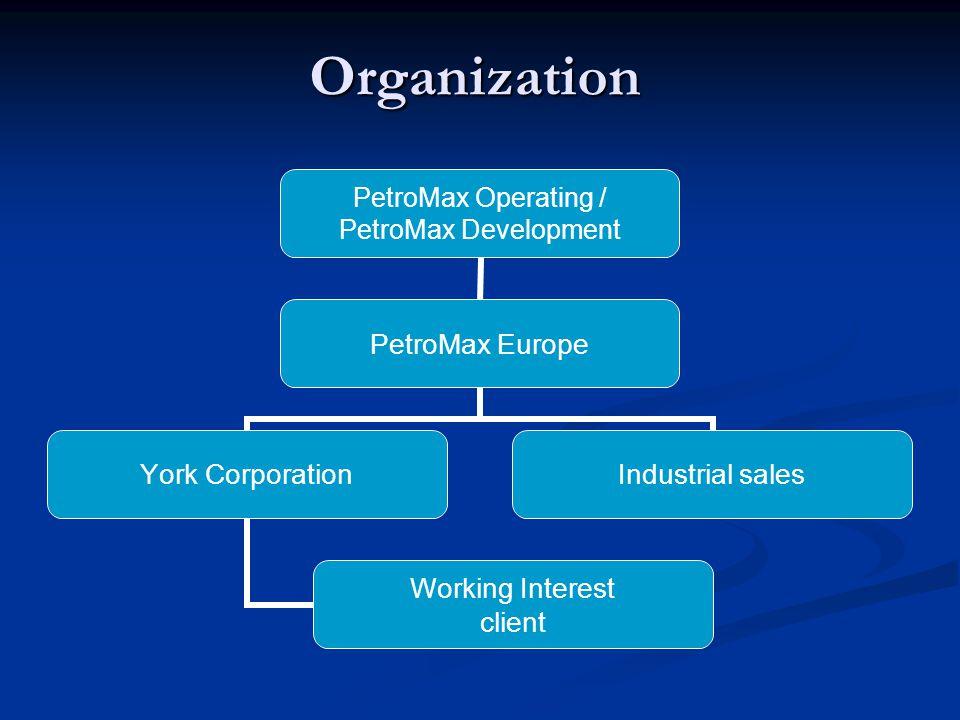 Organization Organization PetroMax Operating / PetroMax Development PetroMax Europe York Corporation Working Interest client Industrial sales