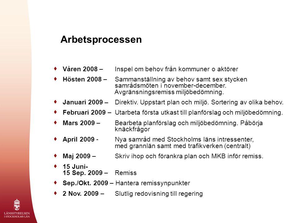 Arbetsprocessen  Våren 2008 – Inspel om behov från kommuner o aktörer  Hösten 2008 – Sammanställning av behov samt sex stycken samrådsmöten i november-december.