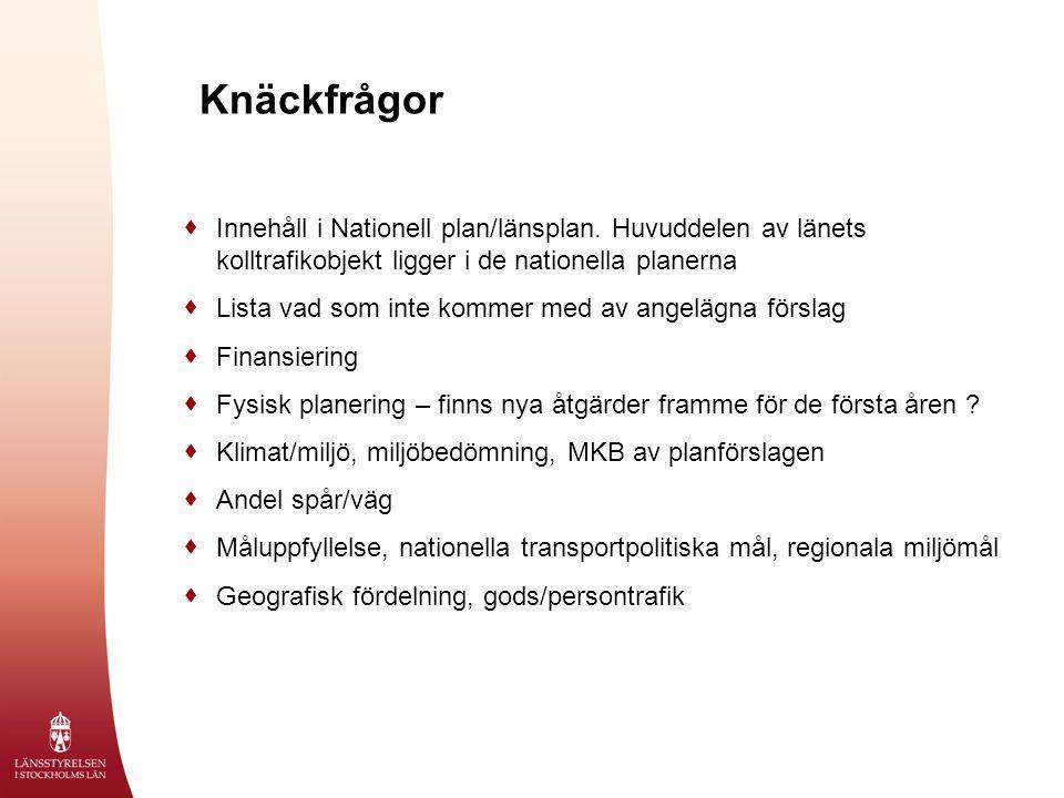 Knäckfrågor  Innehåll i Nationell plan/länsplan.