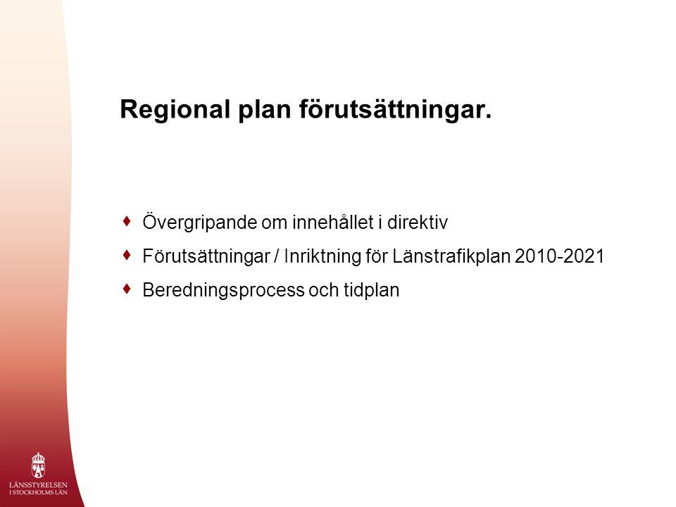 Regional plan förutsättningar.