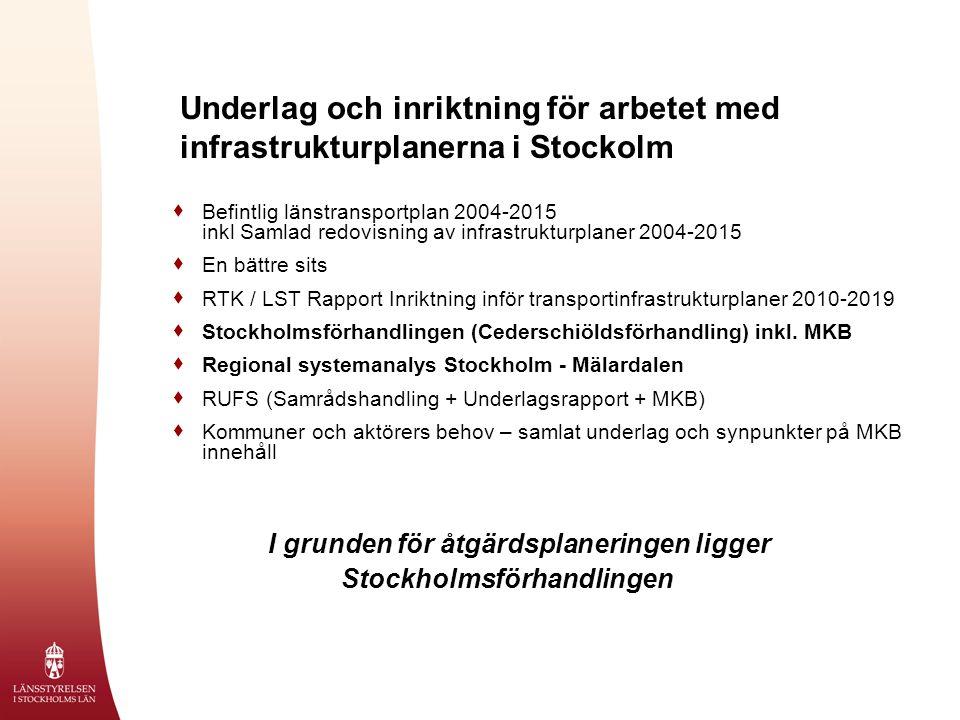 Underlag och inriktning för arbetet med infrastrukturplanerna i Stockolm  Befintlig länstransportplan 2004-2015 inkl Samlad redovisning av infrastrukturplaner 2004-2015  En bättre sits  RTK / LST Rapport Inriktning inför transportinfrastrukturplaner 2010-2019  Stockholmsförhandlingen (Cederschiöldsförhandling) inkl.