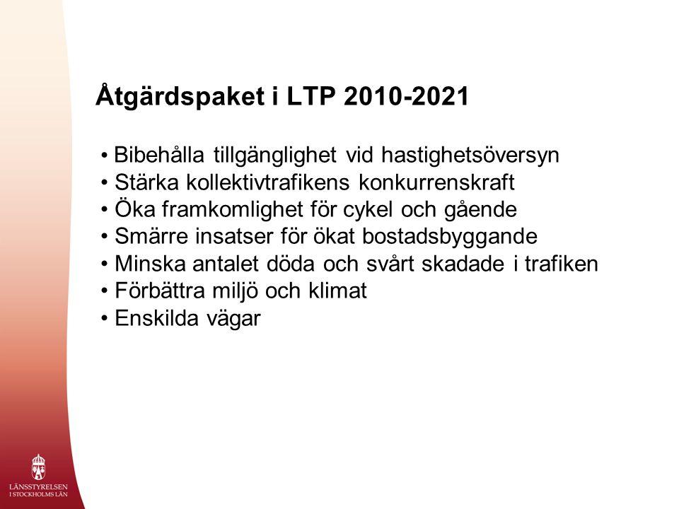 Åtgärdspaket i LTP 2010-2021 Bibehålla tillgänglighet vid hastighetsöversyn Stärka kollektivtrafikens konkurrenskraft Öka framkomlighet för cykel och gående Smärre insatser för ökat bostadsbyggande Minska antalet döda och svårt skadade i trafiken Förbättra miljö och klimat Enskilda vägar