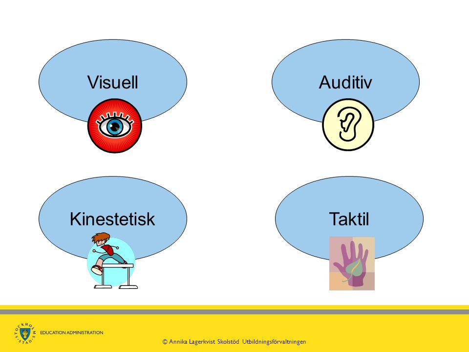 VisuellTaktilAuditiv Kinestetisk © Annika Lagerkvist Skolstöd Utbildningsförvaltningen