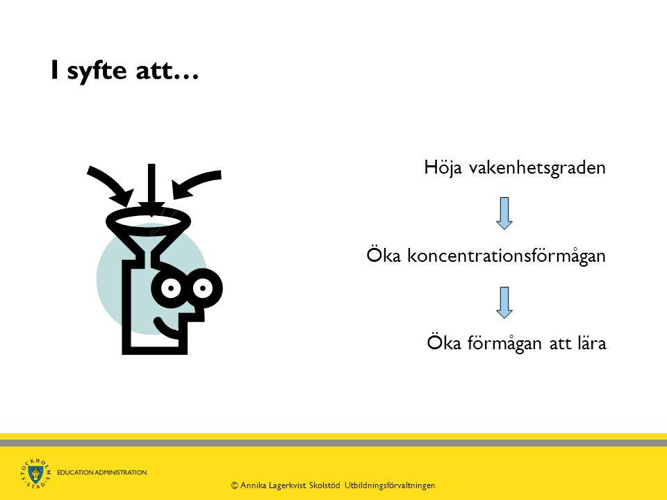 I syfte att… Höja vakenhetsgraden Öka koncentrationsförmågan Öka förmågan att lära © Annika Lagerkvist Skolstöd Utbildningsförvaltningen