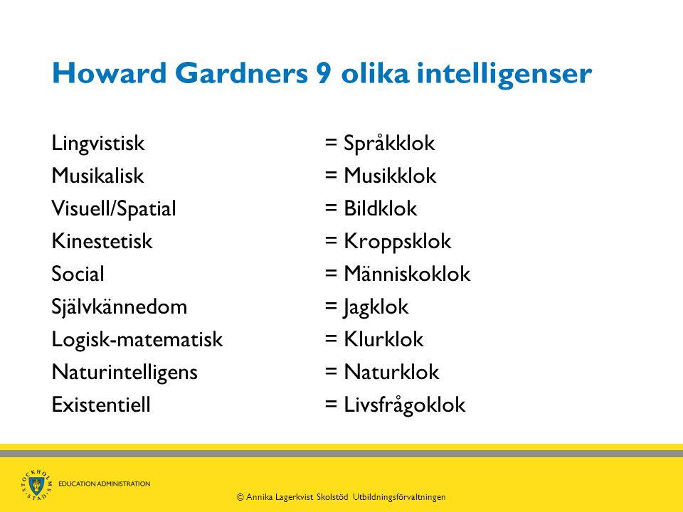 Howard Gardners 9 olika intelligenser Lingvistisk = Språkklok Musikalisk= Musikklok Visuell/Spatial = Bildklok Kinestetisk= Kroppsklok Social = Männis