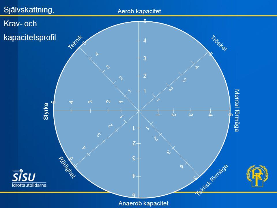 Teknik Aerob kapacitet Tröskel Mental förmåga Taktisk förmåga Styrka Rörlighet Anaerob kapacitet 5 3 4 2 2 5 4 3 2 1 Självskattning, Krav- och kapacit