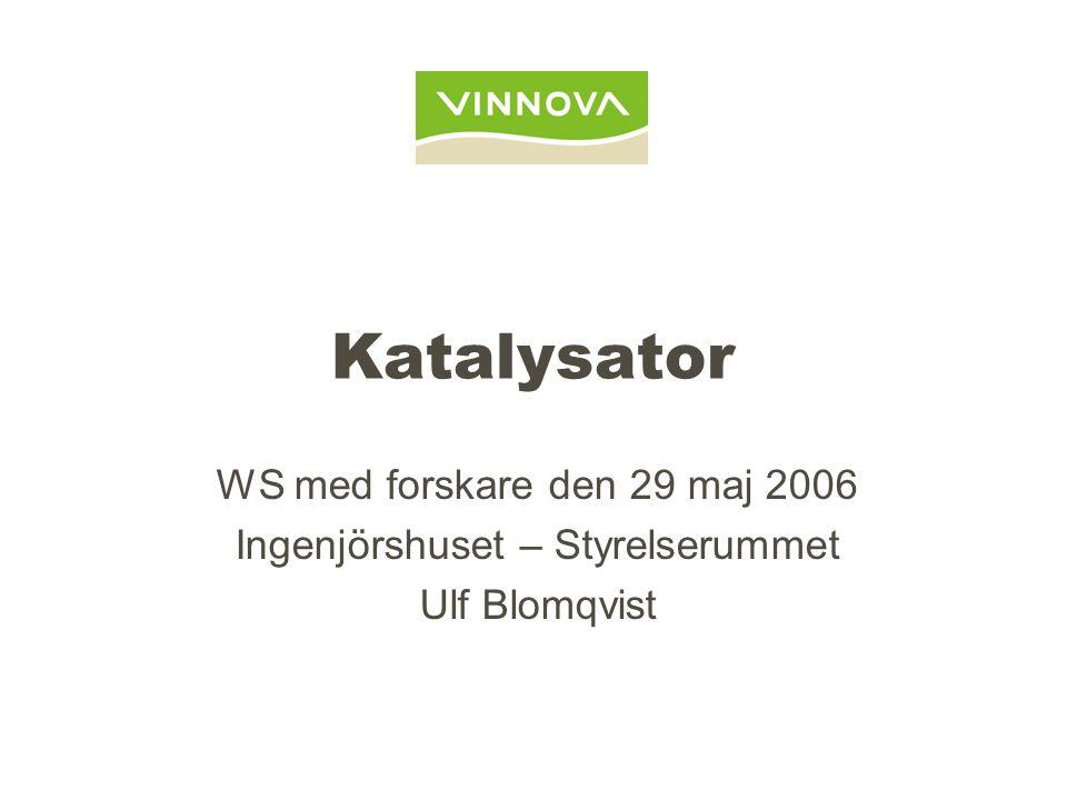 Katalysator WS med forskare den 29 maj 2006 Ingenjörshuset – Styrelserummet Ulf Blomqvist