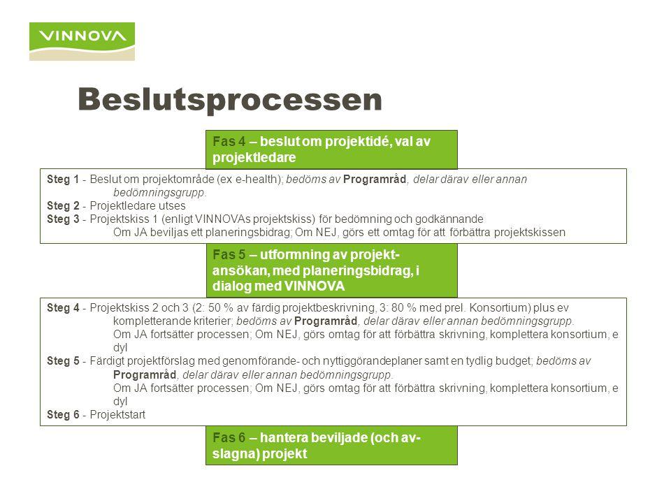 Beslutsprocessen Fas 4 – beslut om projektidé, val av projektledare Fas 5 – utformning av projekt- ansökan, med planeringsbidrag, i dialog med VINNOVA