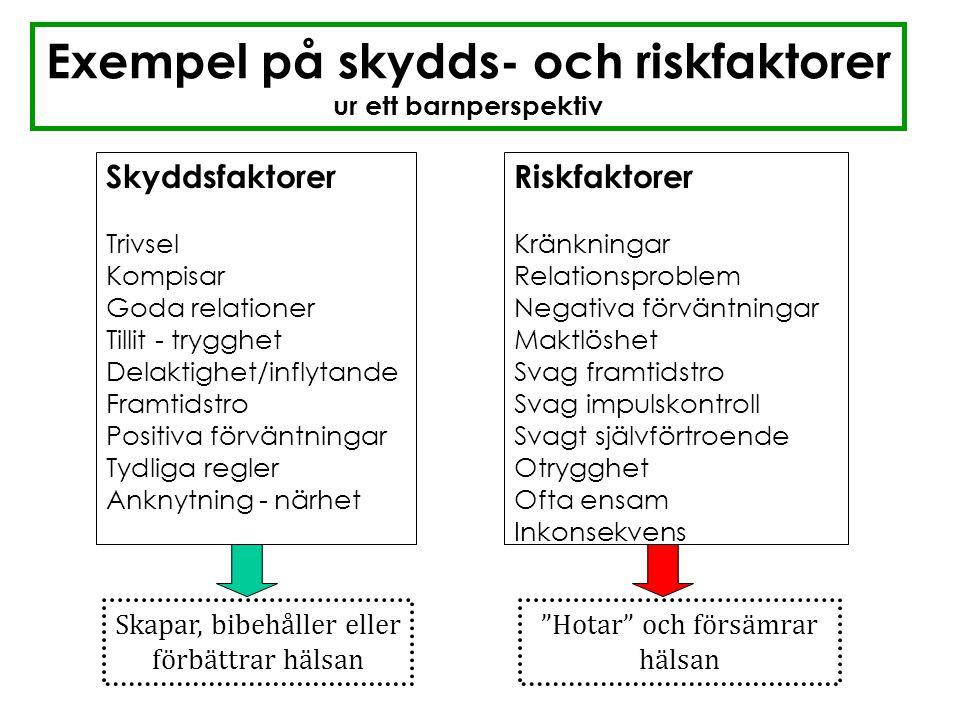Exempel på skydds- och riskfaktorer ur ett barnperspektiv Skyddsfaktorer Trivsel Kompisar Goda relationer Tillit - trygghet Delaktighet/inflytande Fra