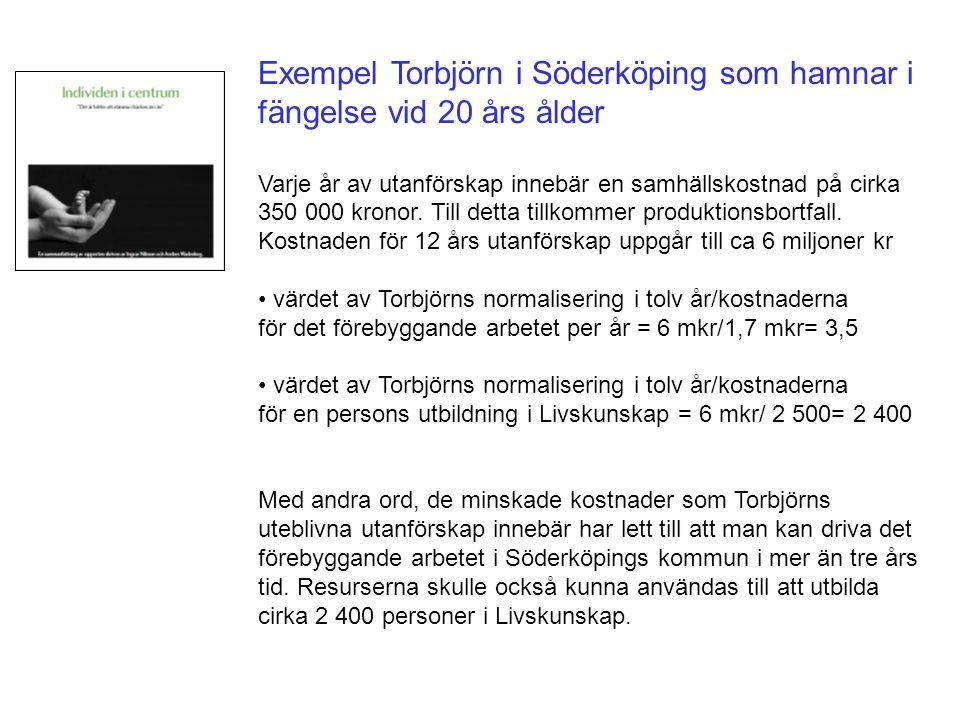 Exempel Torbjörn i Söderköping som hamnar i fängelse vid 20 års ålder Varje år av utanförskap innebär en samhällskostnad på cirka 350 000 kronor. Till