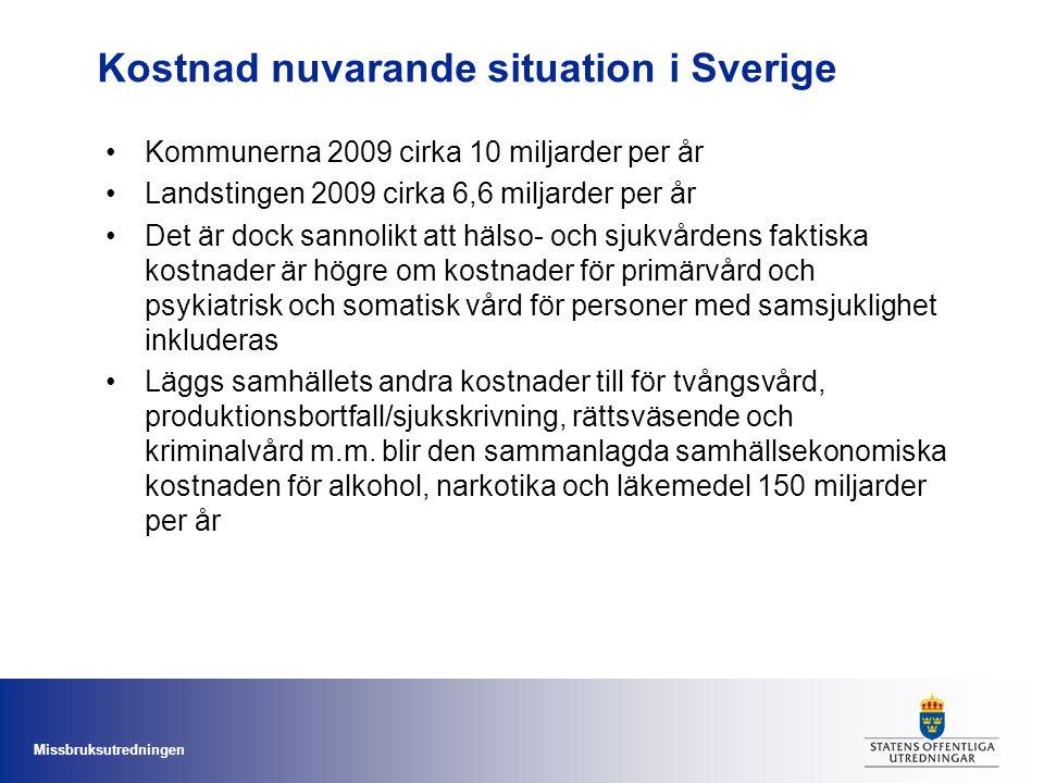 Missbruksutredningen Kostnad nuvarande situation i Sverige Kommunerna 2009 cirka 10 miljarder per år Landstingen 2009 cirka 6,6 miljarder per år Det ä