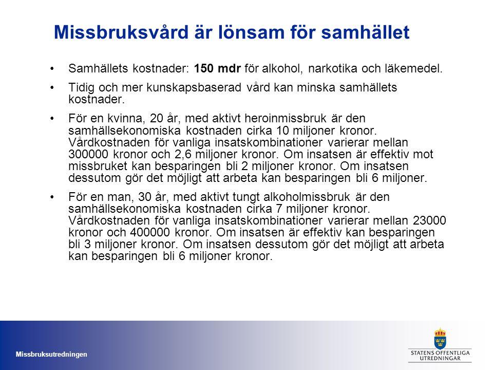Missbruksutredningen Missbruksvård är lönsam för samhället Samhällets kostnader: 150 mdr för alkohol, narkotika och läkemedel. Tidig och mer kunskapsb