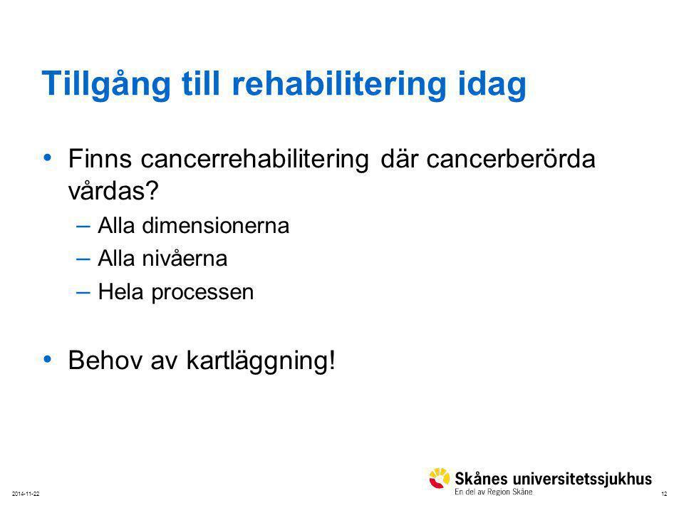 122014-11-22 Tillgång till rehabilitering idag Finns cancerrehabilitering där cancerberörda vårdas? – Alla dimensionerna – Alla nivåerna – Hela proces