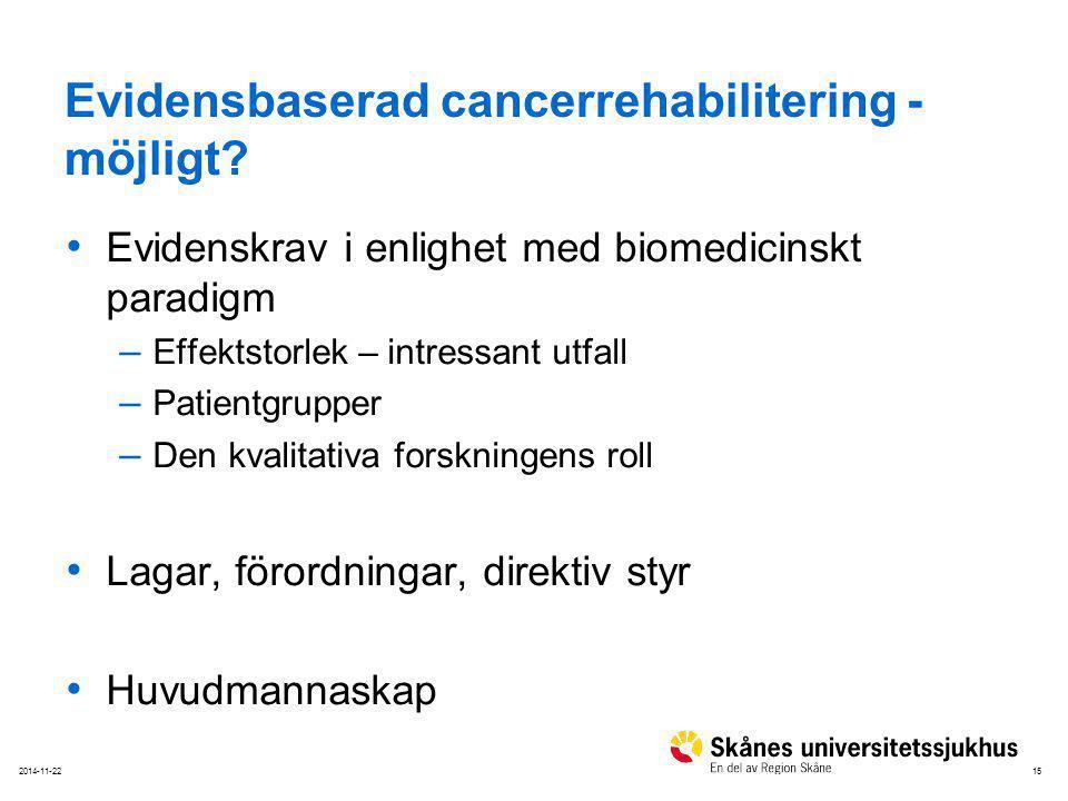 152014-11-22 Evidensbaserad cancerrehabilitering - möjligt? Evidenskrav i enlighet med biomedicinskt paradigm – Effektstorlek – intressant utfall – Pa