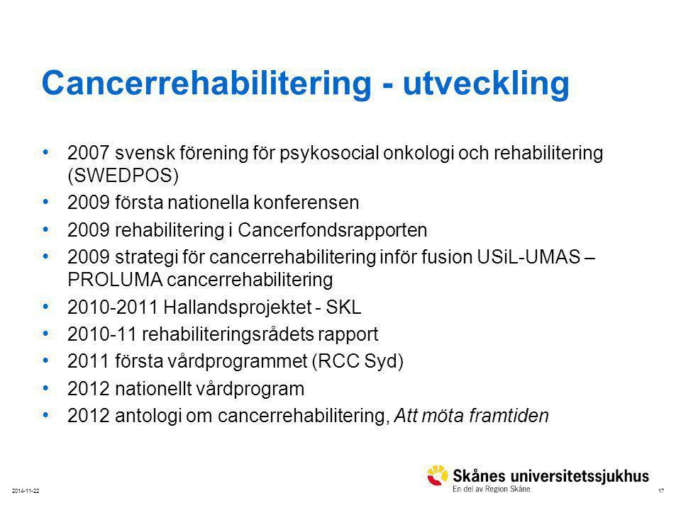 172014-11-22 Cancerrehabilitering - utveckling 2007 svensk förening för psykosocial onkologi och rehabilitering (SWEDPOS) 2009 första nationella konfe
