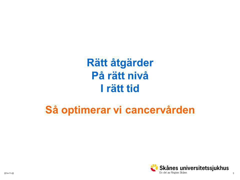 32014-11-22 Rätt åtgärder På rätt nivå I rätt tid Så optimerar vi cancervården