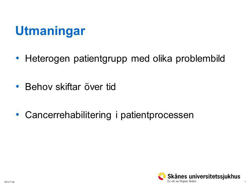 72014-11-22 Utmaningar Heterogen patientgrupp med olika problembild Behov skiftar över tid Cancerrehabilitering i patientprocessen