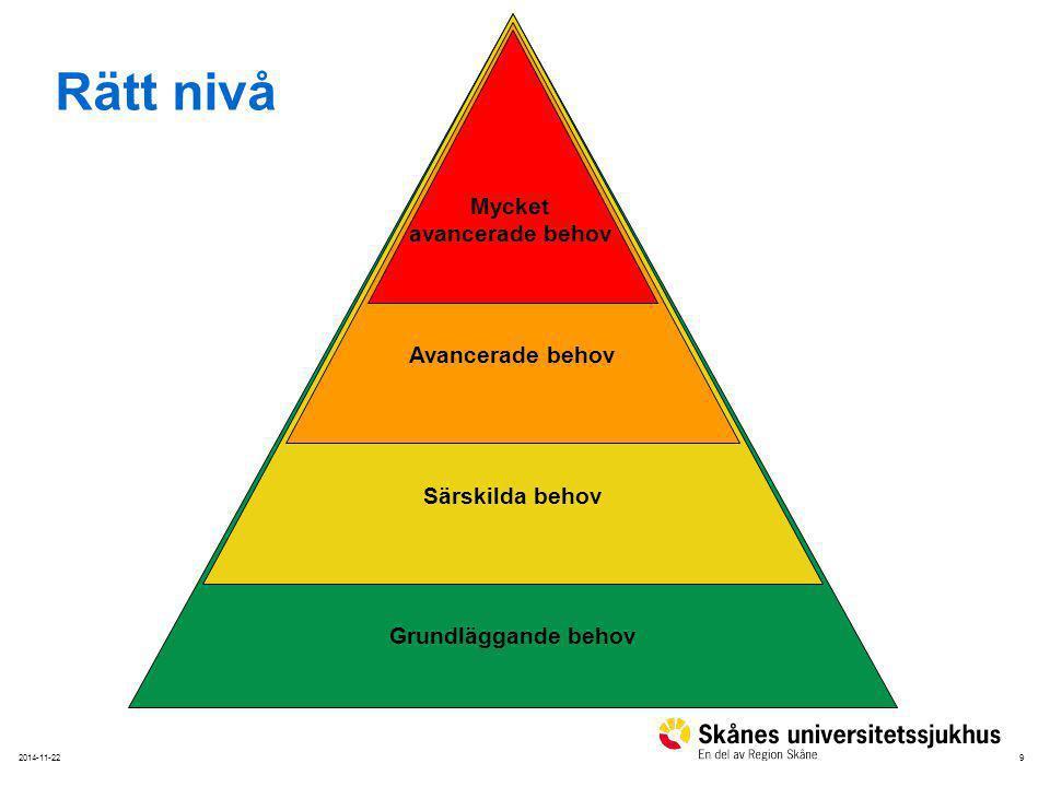 92014-11-22 Grundläggande behov Särskilda behov Avancerade behov Mycket avancerade behov Rätt nivå
