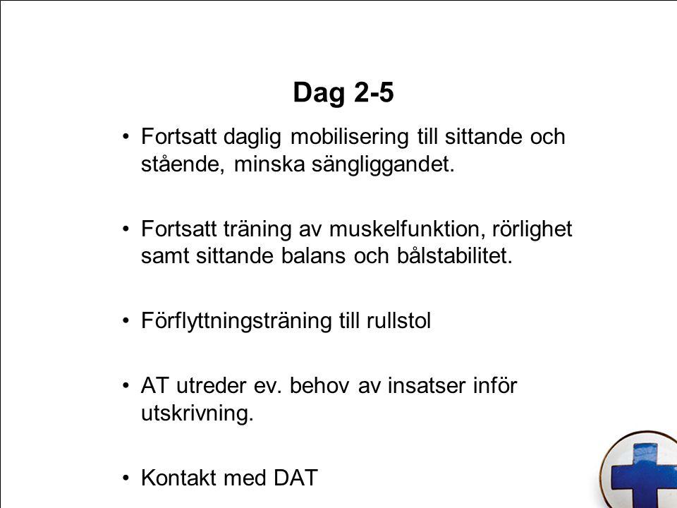 Dag 2-5 Fortsatt daglig mobilisering till sittande och stående, minska sängliggandet. Fortsatt träning av muskelfunktion, rörlighet samt sittande bala