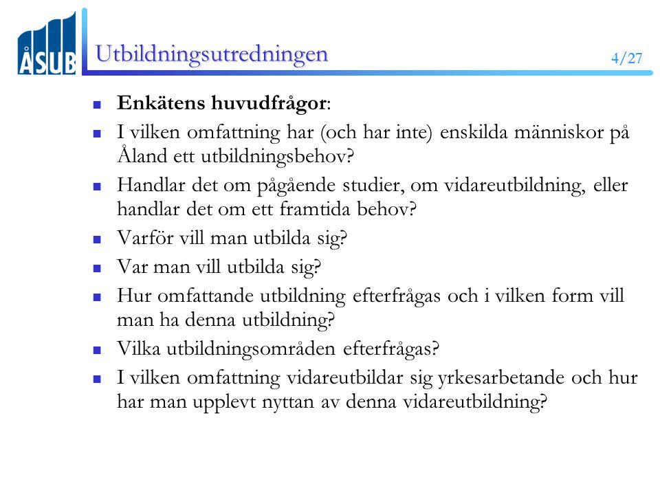 4/27 Utbildningsutredningen Enkätens huvudfrågor: I vilken omfattning har (och har inte) enskilda människor på Åland ett utbildningsbehov.