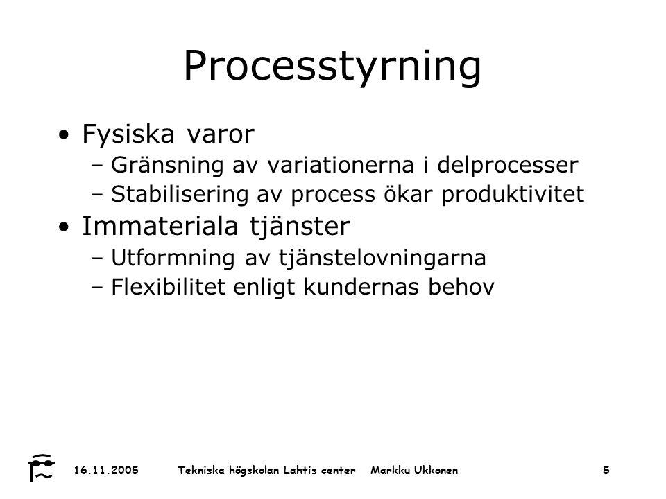 Tekniska högskolan Lahtis center Markku Ukkonen 16.11.20055 Processtyrning Fysiska varor –Gränsning av variationerna i delprocesser –Stabilisering av process ökar produktivitet Immateriala tjänster –Utformning av tjänstelovningarna –Flexibilitet enligt kundernas behov