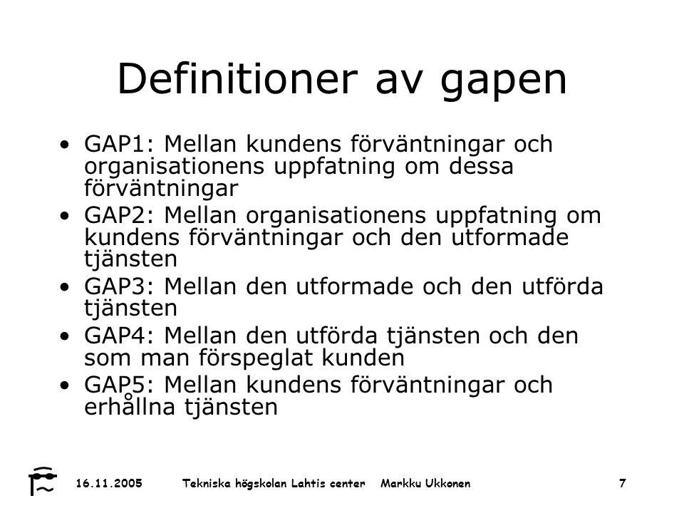 Tekniska högskolan Lahtis center Markku Ukkonen 16.11.20058 Process analys Vårdlinje Mot- tagning Vård 1Vård 2Till hem Beslut Tjänst 1 Tjänst 2 Anländer till hem Teknisk kvalitet (vad?): Process kvalitet (hur?): Nivå I II III IV Imago SERVQUAL SPC 12,3,4,5