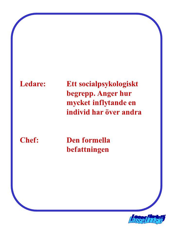 Ledare:Ett socialpsykologiskt begrepp. Anger hur mycket inflytande en individ har över andra Chef:Den formella befattningen
