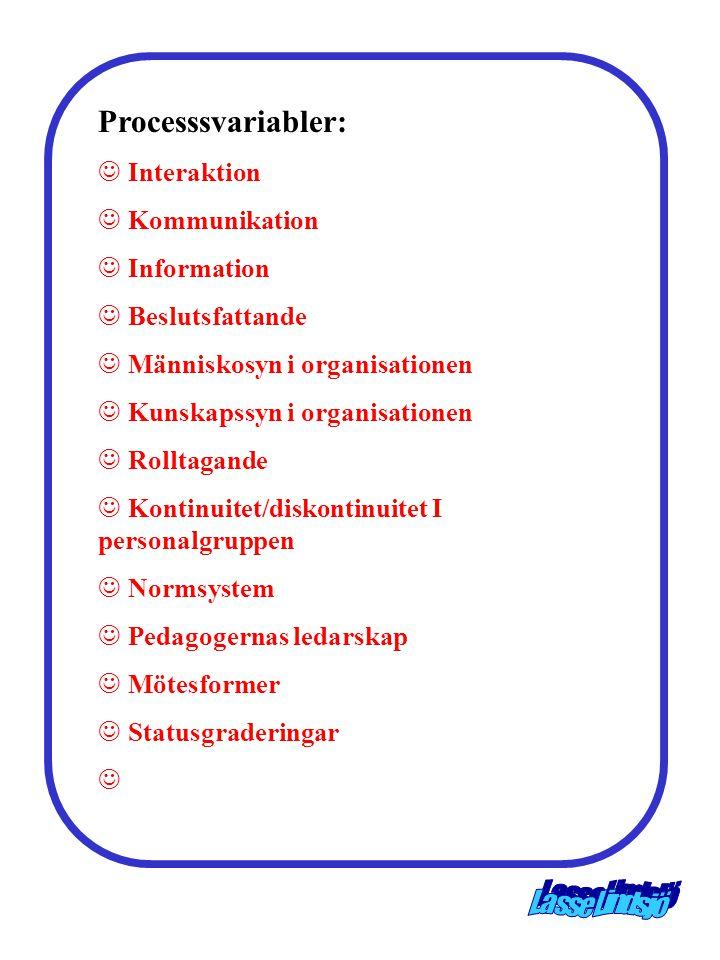 Processsvariabler: Interaktion Kommunikation Information Beslutsfattande Människosyn i organisationen Kunskapssyn i organisationen Rolltagande Kontinu