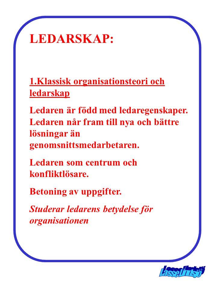LEDARSKAP: 1.Klassisk organisationsteori och ledarskap Ledaren är född med ledaregenskaper. Ledaren når fram till nya och bättre lösningar än genomsni