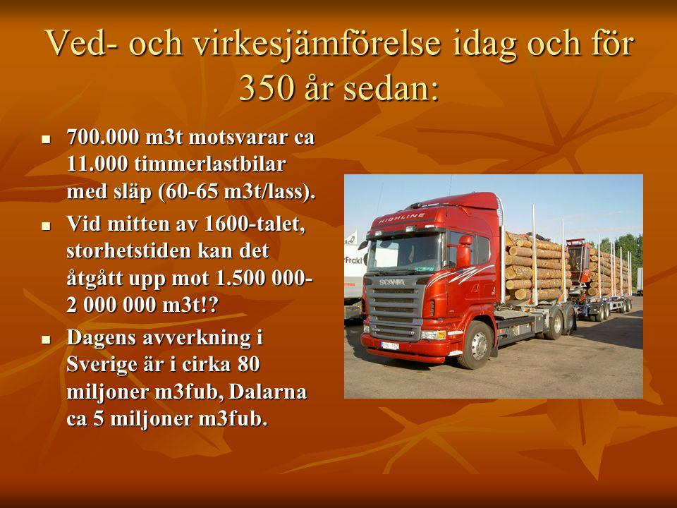 Ved- och virkesjämförelse idag och för 350 år sedan: 700.000 m3t motsvarar ca 11.000 timmerlastbilar med släp (60-65 m3t/lass). 700.000 m3t motsvarar